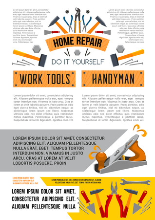 집 수리를위한 벡터 작업 도구 포스터