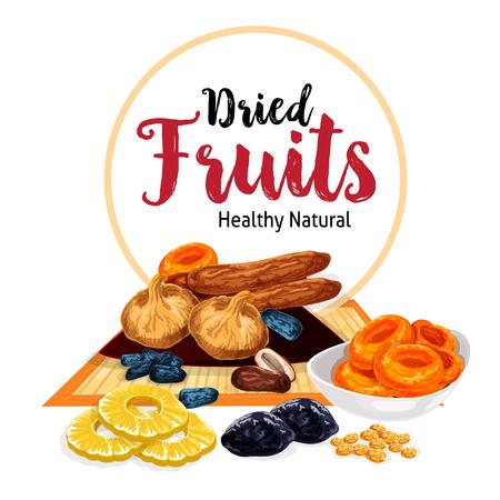 Een vector poster van gedroogde vruchten en droge fruit snacks op een effen achtergrond. Stock Illustratie