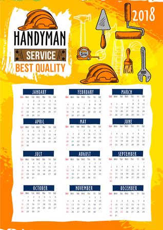 Handyman repair service 2018 calendar template Illusztráció