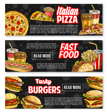 Fast food vector banners for fastfood restaurant