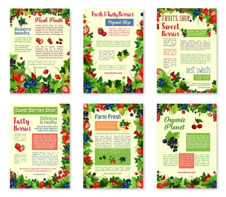 無地の背景に新鮮なベリーや果物のためのベクトルバナー。  イラスト・ベクター素材
