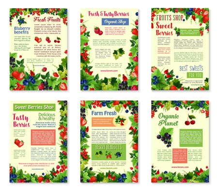 A Vector banners for fresh berries and fruits on a plain background. Ilustração