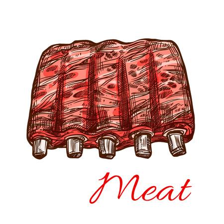 돼지 고기 또는 양고기 신선한 갈비 벡터 고기 스케치 아이콘