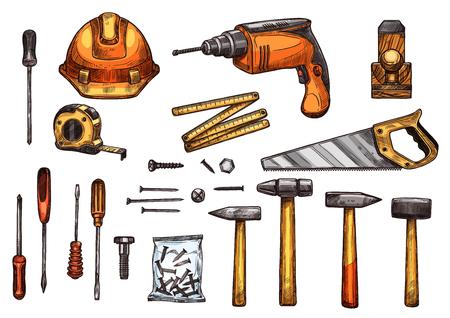 작업 도구의 벡터 스케치 아이콘