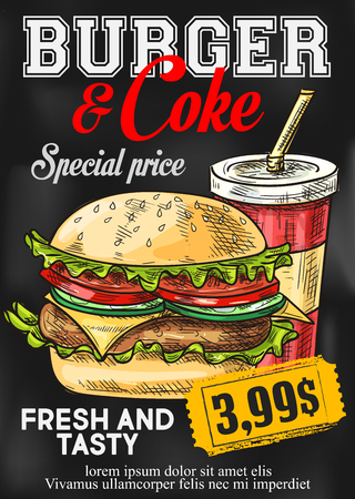 Fast food vector price card burger and coke menu