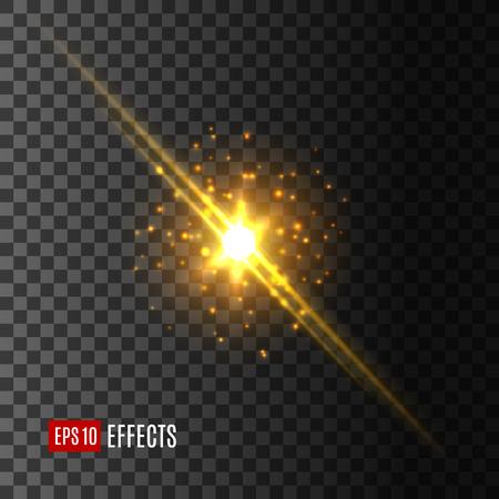 Ster licht flitsen lens flare effect vector pictogram