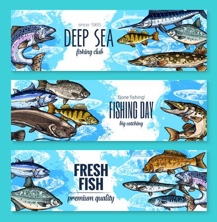 釣りや魚の海生活のためベクトル バナー。  イラスト・ベクター素材