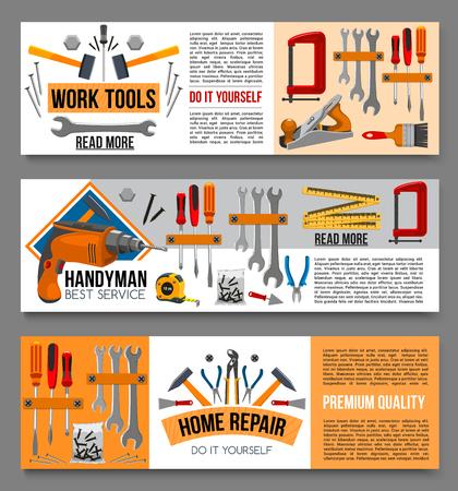Vector flat banenrs of home repair work tools