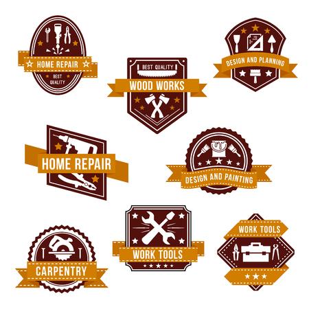 Vector work tools icons set for home repair design Illusztráció