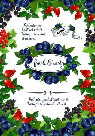 Vectoraffiche van verse bessen en vruchten Stock Illustratie