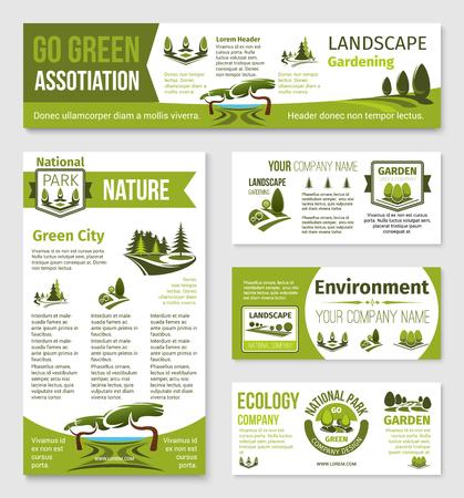 Vectormalplaatjes voor groen ecomilieubedrijf