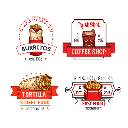 Iconos de menú de vector de comida rápida de restaurante de comida rápida Foto de archivo - 86163097