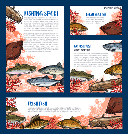 burbot: Vector templates set of fishes for fishing sport