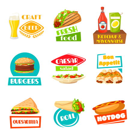 Fast food vector menu icons set for meals Ilustração
