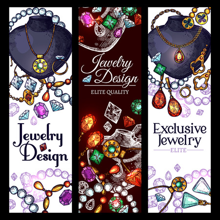 Vector banners de accesorios de moda de joyería Ilustración de vector