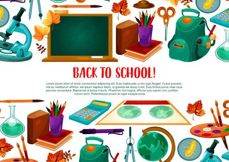 Terug naar school vector welkomstaffiche Stock Illustratie