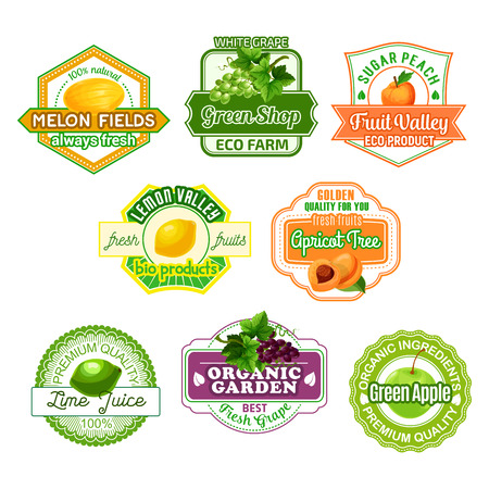 Vector icons for fruit juice or farm market Çizim