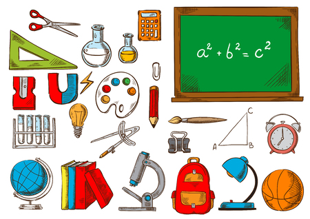 School and education supplies sketches Stock Vector - 85641711