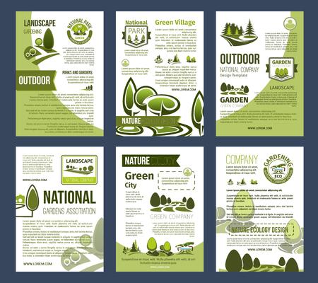 環境デザインのためのエコロジーポスターセット  イラスト・ベクター素材
