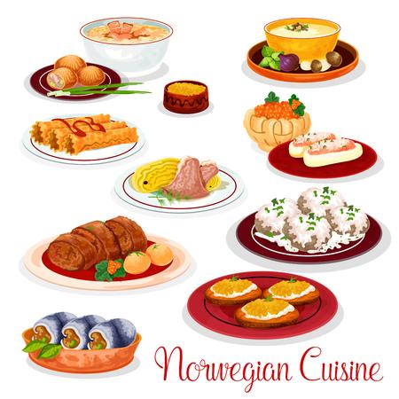 Noorse keuken nationale gerechten set