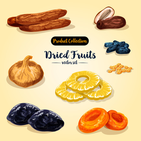 말린 과일 및 설탕에 절인 베리 세트 일러스트