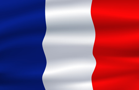Flag of France waving in the wind 3d illustration Ilustração