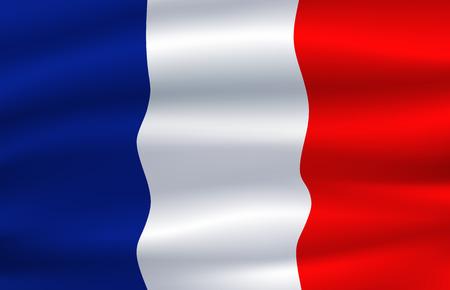 Flag of France waving in the wind 3d illustration Illustration