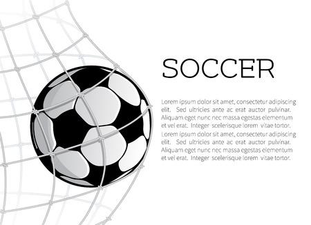 白の背景にサッカーゲートのネットでサッカーボール。スポーツゲームバナー、スポーツ用品、サッカー競技テーマデザインのゴールボールシンボ