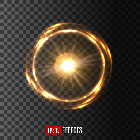 Gold glowing light circle with shining rings. Round light effect of bright star with swirling sparkles on transparent background for festive card decoration, magic and space design