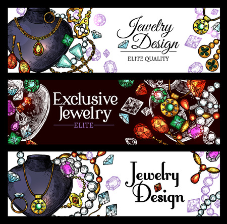 Jewelry sketch banners. Illustration