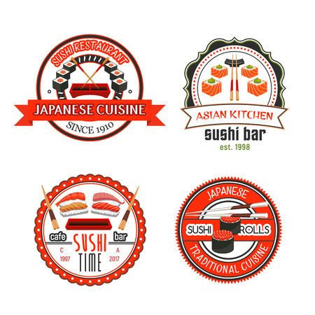 Japanese sushi bar and asian cuisine restaurant badges and icons. Seafood sushi roll and nigiri with rice, salmon, tuna, shrimp, octopus and caviar, served with chopsticks, soy and wasabi sauce