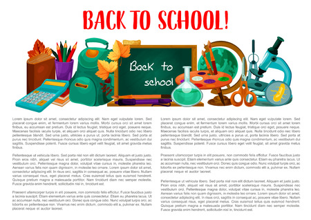 Back to school poster with supplies. Pencil and book, pen, ruler and scissors, school bag, calculator, paint and globe, classroom blackboard, laboratory flask, microscope cartoon banner design Ilustracja