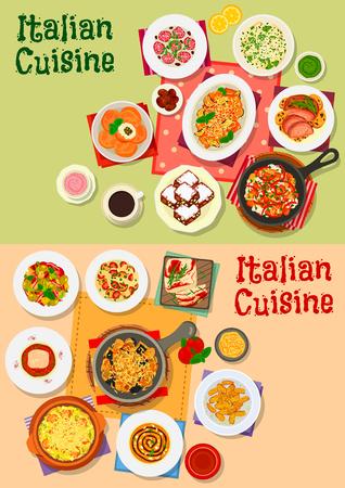 Gerichte der italienischen Küche, Suppen und Salate. Traditionelle Pasta mit Tomaten, Oliven, Käse und Fleisch, Salat, Lamm und Fisch, Suppe, Kartoffelknödel, Reisbällchen, Auberginensnack, Nuss- und Honigkuchen Standard-Bild - 85567727