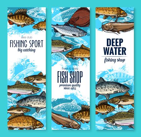 낚시 및 해산물 배너를 설정합니다. 연어, 참치 및 농어, 농어, 송어, 잉어, 청어, 메기, 넙치 및 낚시 물고기 클럽 포스터, 물고기 시장 라벨 및 식품 포 일러스트
