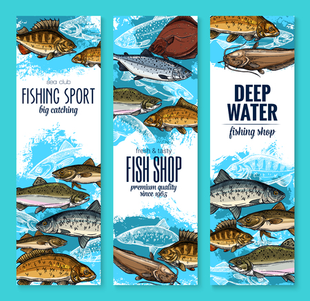 fishing and seafood banners set. Salmon, tuna and sea bass, perch, trout, carp, herring, catfish, flounder and sprat fish for fishing sport club poster, fish market label and food packaging design
