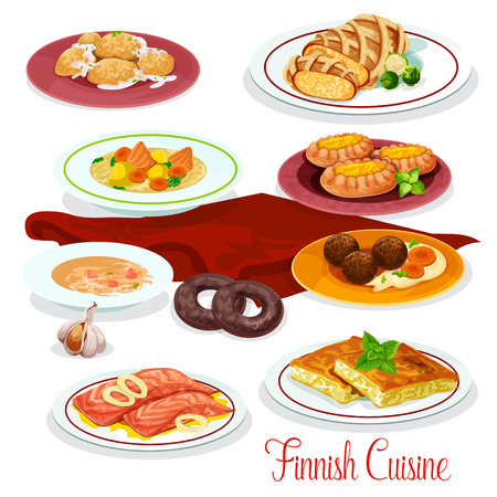 Finnish cuisine dinner with national dishes. Illustration