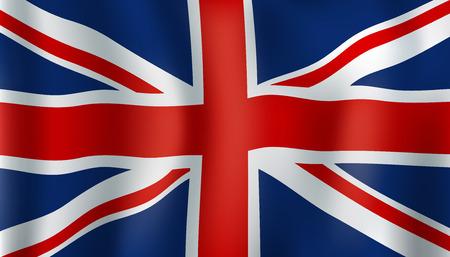 Símbolo nacional Union Jack de Reino Unido. Bandera de la Unión Británica que agita. Diseño de temas de historia, patriotismo y geografía europea y británica Ilustración de vector