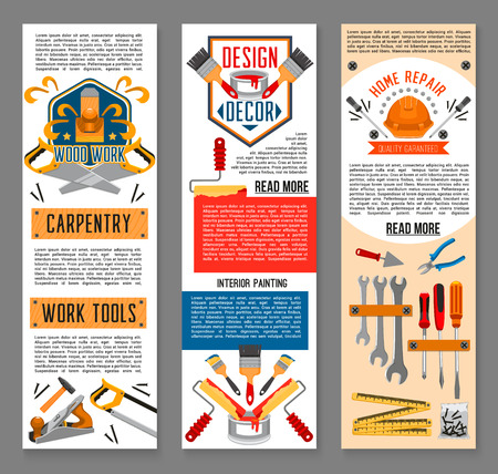 Construction tool, interior painting and home repair banners. Screwdriver, hammer, paint and brush, roller, wrench, pliers, spanner, trowel, saw, tape measure and helmet symbol for web banner design Vettoriali