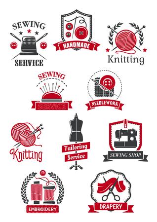 テーラーと縫製ショップシンボルセット。ミシン、針、糸、はさみ、クルー、ヴィンテージテーラー仕立て、手作り、編み物、針編みエンブレムデ