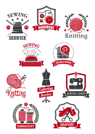 Tailor and sewing shop symbol set. Sewing machine, needle, thread, scissor, clew and vintage tailor dummy isolated icon with ribbon banner for tailoring, handmade, knitting, needlework emblem design