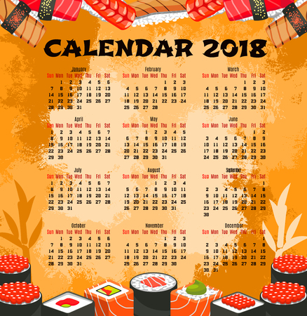 Calendar template of japanese cuisine sushi. Calendar with seafood roll and nigiri sushi with salmon fish, rice, tuna, shrimp, seaweed, wasabi and avocado for japanese food themes design