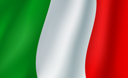 Flag of Italy realistic 3d illustration. Italian Republic national symbol, green white and red tricolor fluttering in the wind. European country banner for travel, culture or history design