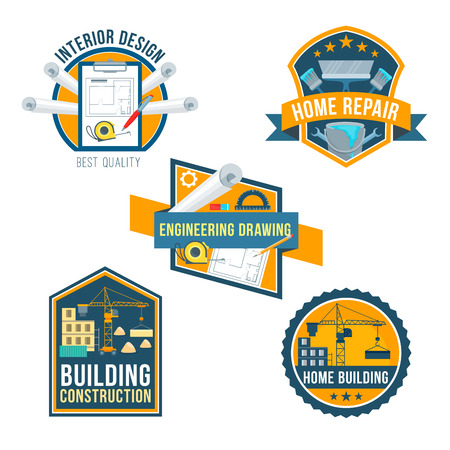 Building construction, home repair and interior design icons set. Construction site, engineering drawing, paint, brush, spanner, work tool symbols with ribbon banner for architecture business design Illustration