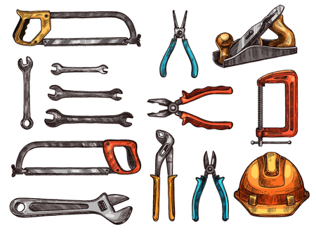 Hand tool isolated sketch set. Spanner, adjustable wrench, pliers, hard hat, saw, wire cutters, jack plane, clamp symbols. Work tool and instrument for carpentry, home repair and construction design Фото со стока - 85567934