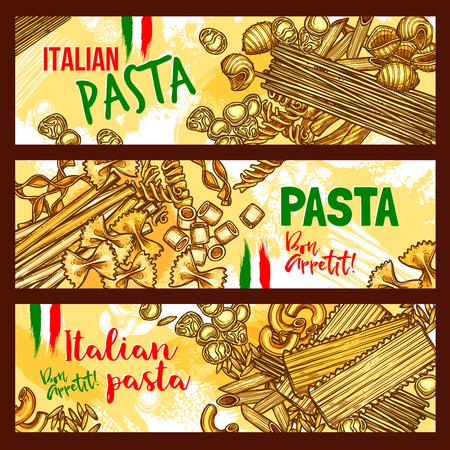 パスタとイタリア料理のバナー。スパゲッティ、ペンネ、マカロニ、ファルファッレ、ヌードル、フジッリ、ラビオリ、ラザニア、orzo、地中海料理  イラスト・ベクター素材