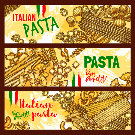 Pasta and italian cuisine banners. Italian pasta with spaghetti, penne, macaroni, farfalle and noodle, fusilli, ravioli, lasagna and orzo shapes with italian flag for mediterranean cuisine design
