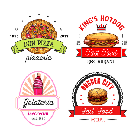 Fast Food Restaurant And Coffee Shop Isolated Symbols Or Icons