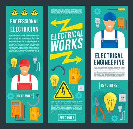 Electrician, electrical works and engineering banners. Electrician in uniform with power tool, equipment and pliers, screwdriver, light bulb, electrical wire, socket, plug, voltage tester, multimeter