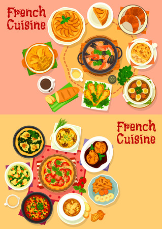 French national cuisine dishes and salads. Vegetable stew ratatouille, pear in wine sauce, tomato, spinach and apple pie, onion cheese soup, croissant, baguette, mushroom casserole, frog legs