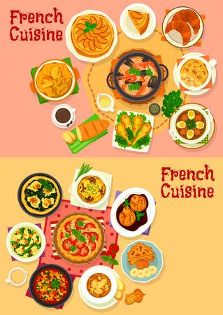 Plats et salades de cuisine nationale française. Ratatouille de ragoût de légumes, sauce poire au vin, tomate, épinards et tarte aux pommes, soupe au fromage à l'oignon, croissant, baguette, cocotte de champignons, cuisses de grenouille Banque d'images - 85567961